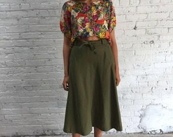 vintage army green twill midi skirt / olive green wrap skirt / khaki midi skirt