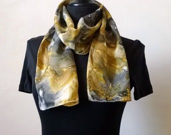 Gray and Gold Silk Scarf, 8x52 inches, Abstract Scarf, Small Scarf, Narrow Scarf, Handpainted Silk, Gift for Women, Modern Scarf