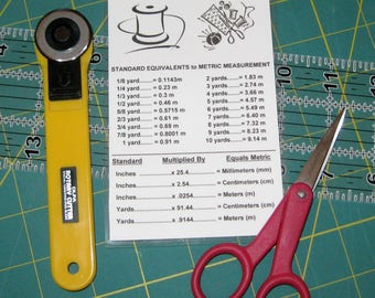 Yards to Meters Conversion Chart, Sewing Reference Tool, Measurements Conversion Table, Standard to Metric Yardage Fabric Conversion Chart