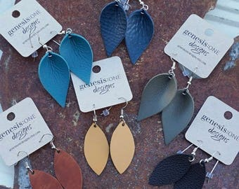 Leather Earrings - Genuine Leather - Colorful Collection - Teardrop - Leaf - Mustard - Blue - Brown - Black - Red - Stainless Steel Wires