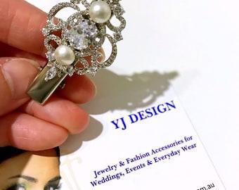Victorian Wedding Hair Clip, Pearl Bridal Hair Clip, Cz Bridal Hair Jewelry, Bridal Headpiece, Bridesmaid Gift, Vintage Wedding Gift, ARYA