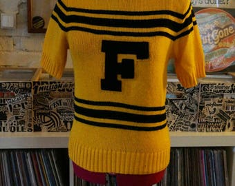 vintage black yellow stripe cheerleader knit top sweater short sleeves letter F varsity