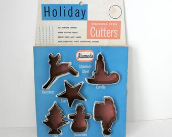 Holiday Cookie Cutters by Alumode, Vintage Christmas Candle, Reindeer, Tree, Santa, Star, Snowman