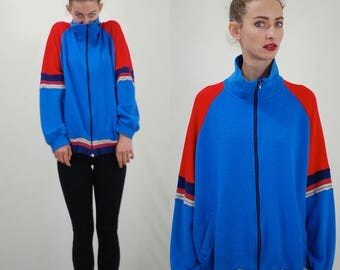 Track Jacket / Vintage Jacket / 70s Track Jacket / Hip Hop Jacket / Color Block / Zip Up Jacket / Track and Court / Large X Large