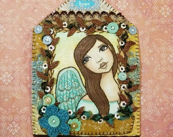 Original Angel Painting Handstitched House Art Quilt by Lisa Lectura