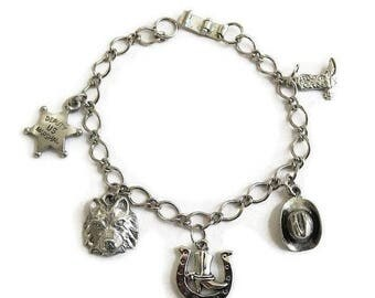 SALE Vintage Cowgirl Cowboy Charm Bracelet with Charms