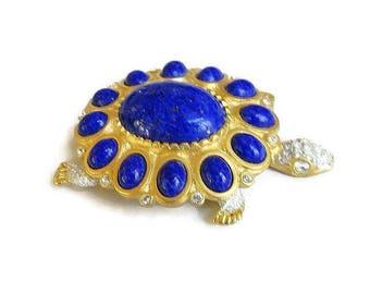 Faux Lapis Glass Cabochons & Clear Rhinestones Turtle Brooch Vintage signed KJL Kenneth J. Lane