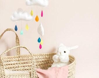 Rainbow, baby mobile, cloud mobile.Nursery decor, Gender neutral nursery inspiration-montessori mobile.cot mobile.baby mobile.rainbow