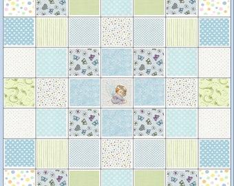 Angel Wishes~Newborn Infant Baby Boy Precut Quilt Kit Fabric~Angel~Hearts~Dots~Blue~Green~QK#143