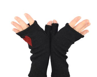 Fingerless Gloves in Midnight Black with Red Heart - Recycled Merino Wool