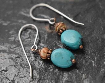 Sale- Leopard Skin Jasper and Turquoise Earrings