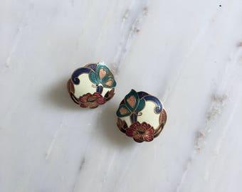 Qin cloisonné earrings | floral enamel earrings | white cloisonné earrings