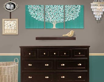 Canvas Art Large Tree Painting Original Triptych Wall Art in Teal - 50x20