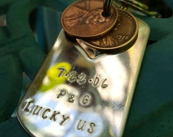 Lucky Us Keychain with two lucky pennies, Lucky Penny keychain, Anniversary gift,Dog tag keychain,Traditional anniversary gift