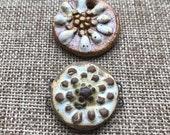 Two for ONE, Art Bead & Bracelet link,  Handcrafted Ceramic Pendant,flower pendant ,The Classic Bead, zinnia Pendant, gift for gardener