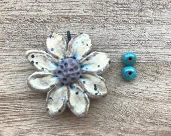 Dimensional Daisy, Art Bead, Handcrafted Ceramic Pendant,flower pendant ,The Classic Bead, zinnia Pendant, gift for gardener