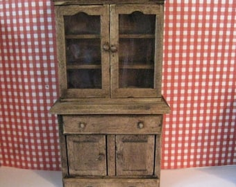 Dollhouse cabinet, country hutch, , country cupboard, ,  country look, dark oak, twelfth scale, dollhouse miniature