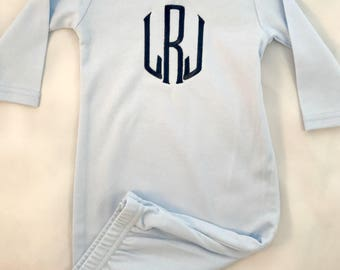 Monogrammed Blue Baby Gown