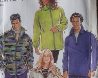 New Look 6672 Simplicity Pattern Unisex Fleece Jacket Pattern Mens or Misses sizes Small to XXLarge