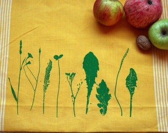 Fair Trade handwoven tea towel 'Herb Garden' yellow