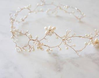 Bridal Pearl Wreath | Gold Pearl Halo | Pearl Head Crown | White Pearl Crown | Boho Bridal Halo | Bridal Pearl Vine [Ariana Hair Wreath]