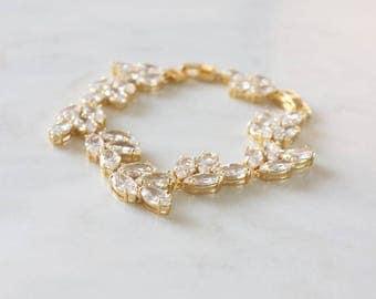 Gold Bridal Bracelet | Crystal Wedding Bracelet | Gold Leaf Bridal Jewelry | Wedding Jewelry | Boho Cuff Bracelet [Althea Bracelet]