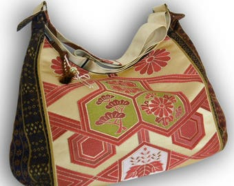Japanese Obi Recycled Crossbody Bag -  Asian Pattern / Family Crest