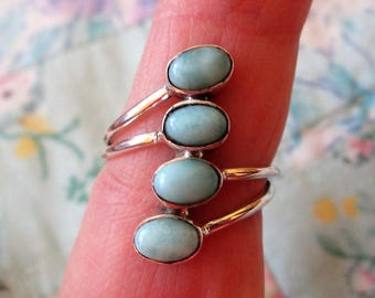 RING  -  LARIMAR -  DOMINICAN Republic - quad - 925 - Sterling Silver - size 7 1/2 - blue 494