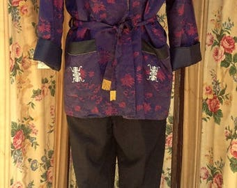 "1950's, 44"" chest,  smoking jacket."