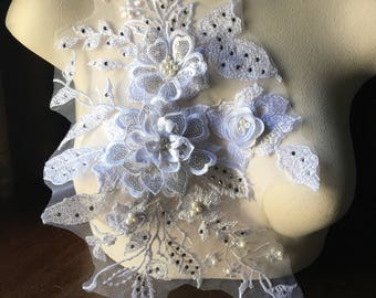 SECOND - WHITE 3D Applique , Rhinestones & Pearls for Bridal, Lyrical Dance, Ballet, Couture Gowns F18-2
