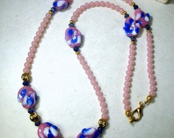 SALE, Pink Blue White Necklace, Long Glass n LUCITE Beads, 1950s Japan HandBlown Art Glass Beads, Rose Pink Lucite,  OOAK Rachelle Starr,