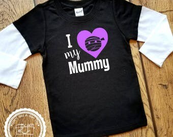 I Love My Mummy Halloween Shirt- Layered Long Sleeve- Trick or Treat outfit- Babys First Halloween Costume- Toddler Infant Child Sizes- #028