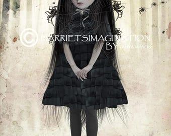 Gothic Art Print - Goth Girl & Spiders - Arachnophilia