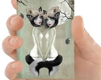 Fantasy ACEO Card | Big Eyes Art | Werewolf Sisters | Fantasy Art | ACEO Art Print | Miniature Art |  Werewolf Art | The Moons Invitation