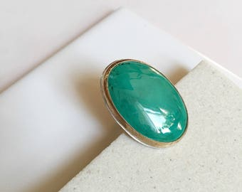 Oval Malachite Stone Ring. Size 6. One of a Kind. Green Stone Ring. Modern Boho Ring. Statement Ring. Gold Ring. Spring Green. Bright.