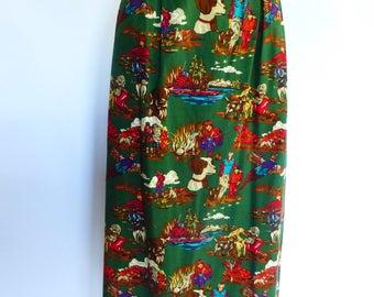 Vintage 1980s Preppy Midi Skirt Hunt Scenes w Dogs Forest Green 10/12