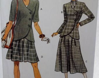 Misses' Jacket and Pleated Split Skirt Very Easy Vogue 8302 High Fashion Sewing Pattern, Loose Fit Asymmetrical Closing Jacket Size 12 - 16