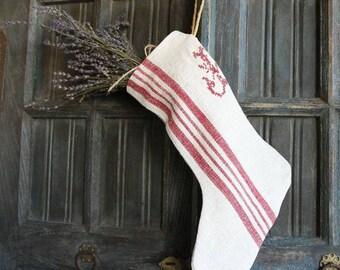D 209: handmade, linen, antique, charming, monogram,  CHRISTMAS STOCKING, vintage ,리넨, decoration;