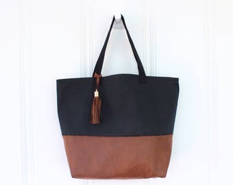 Two-Tone Canvas and Faux Leather Tote - Lined Tote Bag with Pocket - Black and Brown Tote Bag - Handbag