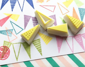 mini triangle rubber stamp set. party bunting stamps. geometric pattern hand carved stamp. diy birthday decorations. card making. set of 4