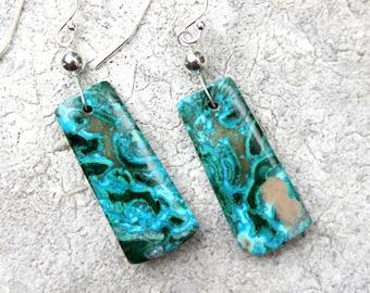 Chrysocolla Earrings, Natural Stone Earrings, Turquoise Earrings, Malachite Earrings, Boho Earrings