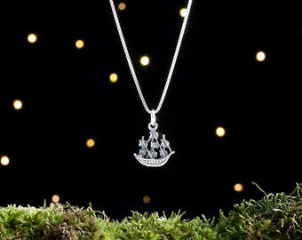 Sterling Silver Pirate Ship - 3D, Double Sided - (Charm, Necklace, or Earrings)