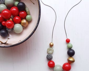 haemanthus necklace - vintage lucite remixed - red gold celadon - floral