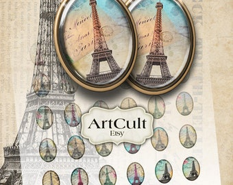 Printable Download PARIS In MY HEART 18x25 mm images print-it-yourself Digital Collage Sheet for Earrings Charms Bracelet Settings bezels