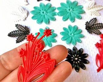 Collection of Vintage Floral Plastic Beads