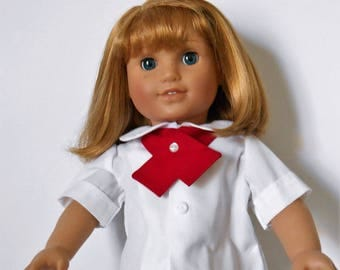 White peter pan collared blouse with red tie fits American Girl