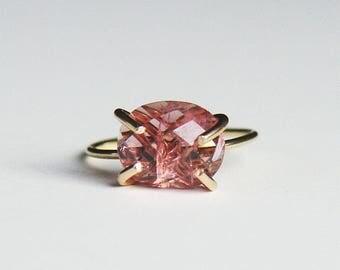 Pink Sapphire Diamond Gold Ring OOAK