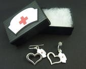 "Nurse Earrings.  Dangle Earrings.  Nursing Cap Hand Decorated Box. STERLING SILVER Ear Wires. I ""heart"" Nursing."