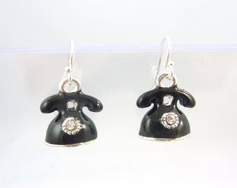 Telephone Dangle Earrings.   Ole School or Vintage Black Enamel on Silver Phone  Earrings For Pierced Ears.  STERLING SILVER ear wire.