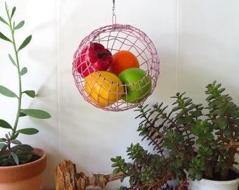 Handwoven Sphere Fruit Basket In Distressed Pink